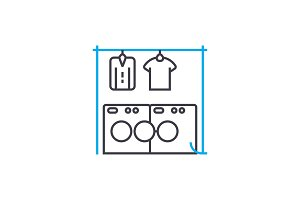Drying of linen linear icon concept. Drying of linen line vector sign, symbol, illustration.