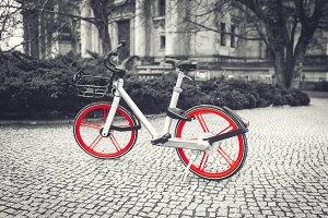 City bike on the street selective