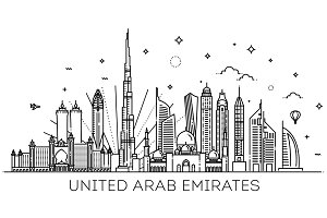 Linear banner of United Arab Emirate