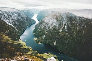 Landscape fjord and mountains
