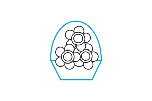 Flower business linear icon concept. Flower business line vector sign, symbol, illustration.