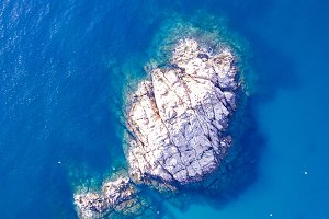 Aerial view of rocks in the coast