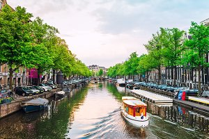 Channel in Amsterdam on sunset