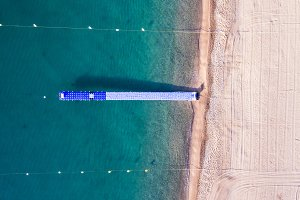 Drone photo of pier in beach
