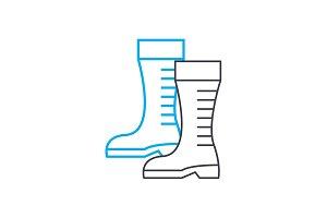 Garden boots linear icon concept. Garden boots line vector sign, symbol, illustration.