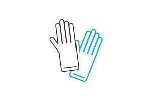 Garden gloves linear icon concept. Garden gloves line vector sign, symbol, illustration.
