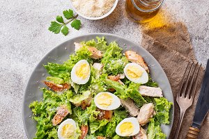 Caesar salad with eggs, chicken and parmesan