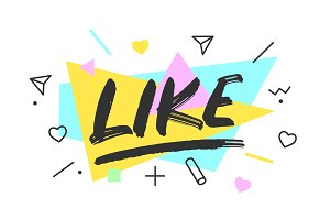 Like. Banner, speech bubble
