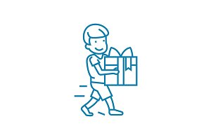 Giving a gift linear icon concept. Giving a gift line vector sign, symbol, illustration.