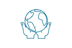 Global control linear icon concept. Global control line vector sign, symbol, illustration.