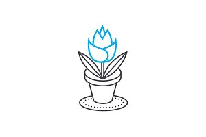 Growing of house flowers linear icon concept. Growing of house flowers line vector sign, symbol, illustration.