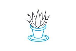 Growing of houseplants linear icon concept. Growing of houseplants line vector sign, symbol, illustration.