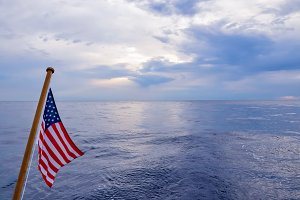 American Flag Flying on Boat