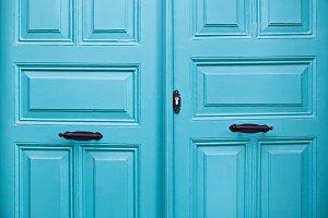 Blue closed door.