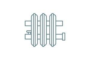 Heat register linear icon concept. Heat register line vector sign, symbol, illustration.