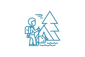 Hiking in the mountains linear icon concept. Hiking in the mountains line vector sign, symbol, illustration.