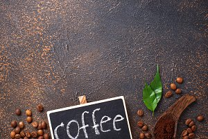 Roasted beans and ground coffee