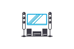 Home theater linear icon concept. Home theater line vector sign, symbol, illustration.