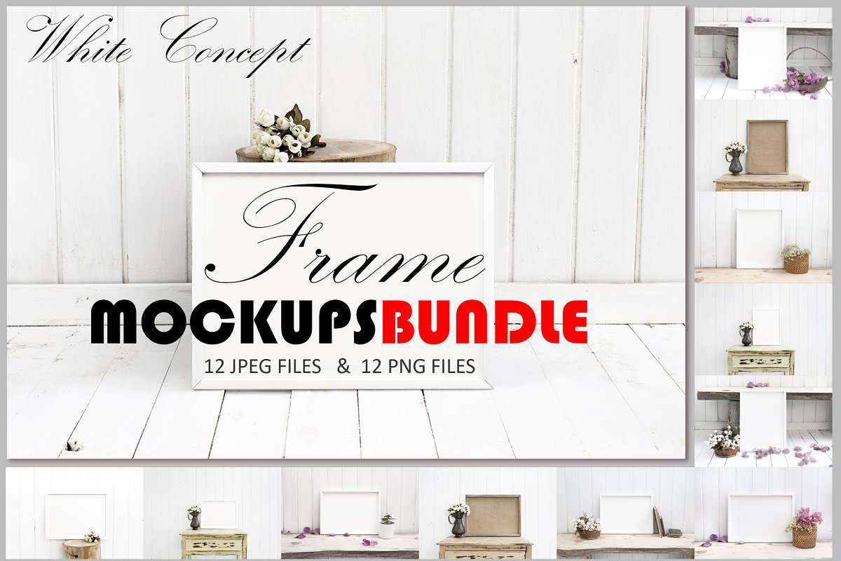 Frame Mockups Bundle, White Concept in Print Mockups - product preview 8