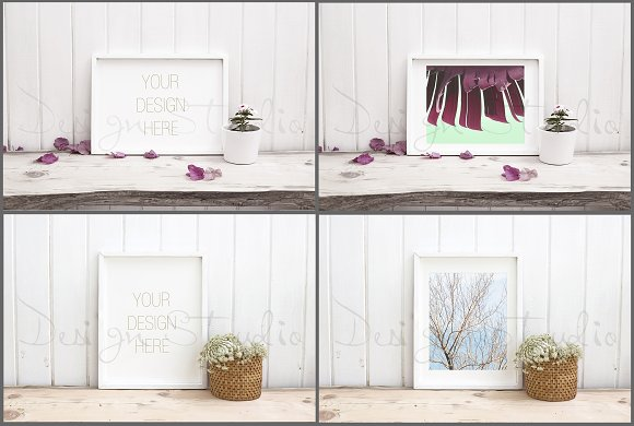 Frame Mockups Bundle, White Concept in Print Mockups - product preview 6