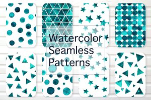 Watercolor emerald seamless patterns