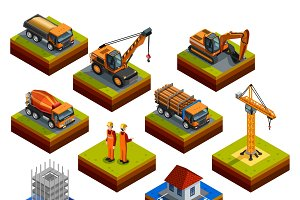 Construction isometric icons