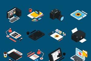 Graphic design isometric icons set