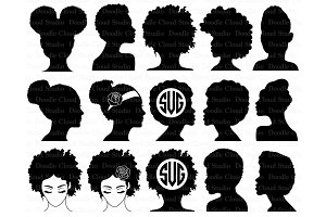 Afro Woman SVG, Afro Lady SVG files.