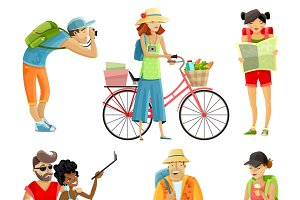 Traveling people cartoon set