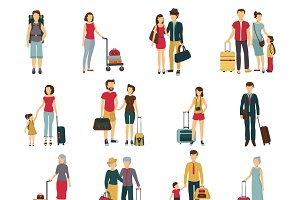 Travelers with luggage icons set
