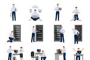 System administrator flat icons set