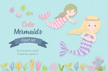 Cute Mermaids Illustration Set