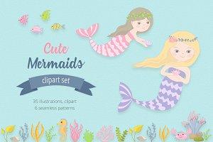 Cute Mermaids Illustration Set