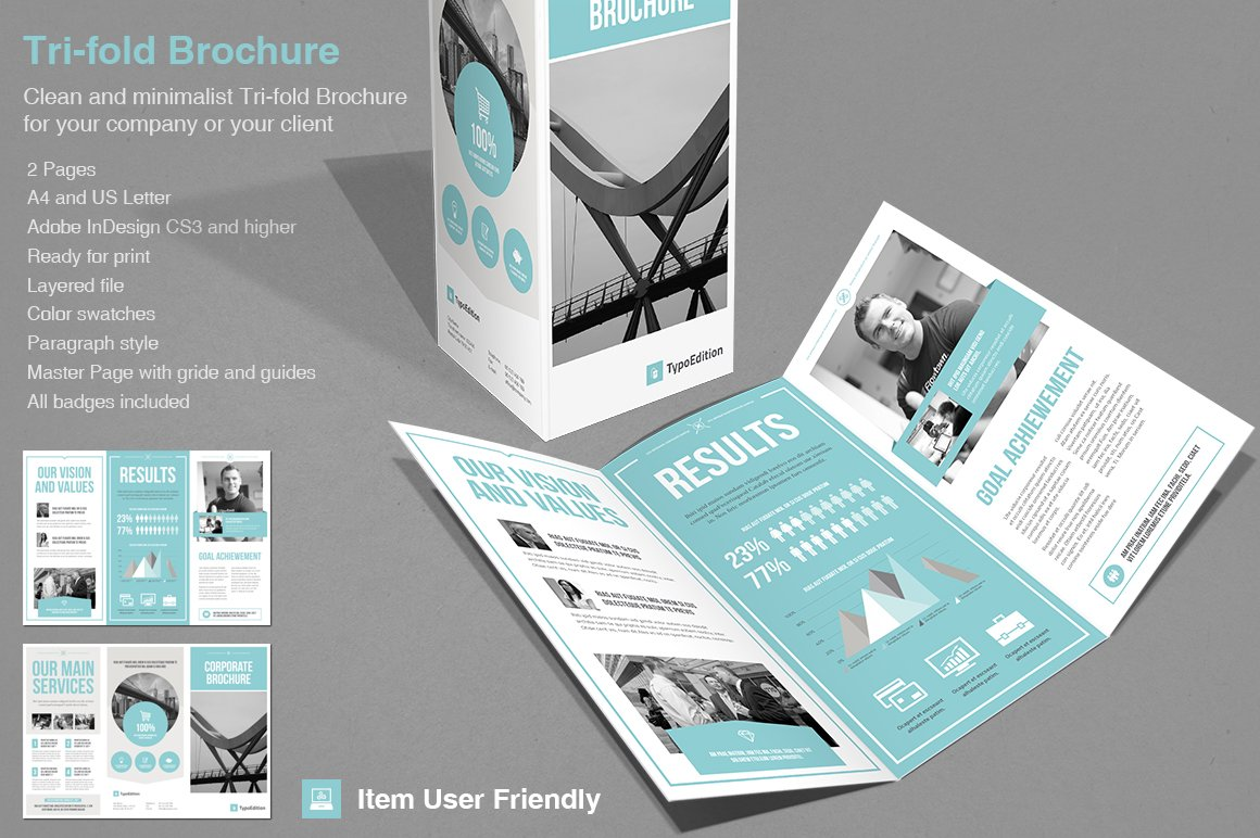 3 fold brochure design templates - tri fold corporate brochure templates creative market