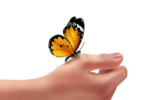 Human hand with butterfly