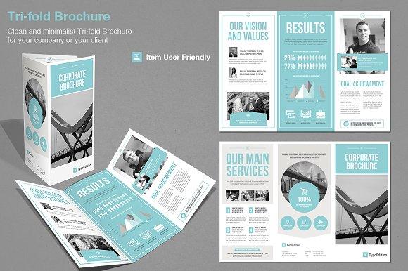 tri fold corporate brochure templates creative market