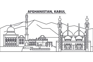 Afghanistan, Kabul line skyline vector illustration. Afghanistan, Kabul linear cityscape with famous landmarks, city sights, vector landscape.