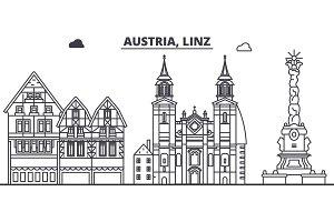 Austria, Linz line skyline vector illustration. Austria, Linz linear cityscape with famous landmarks, city sights, vector landscape.