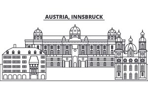 Austria,Innsburck line skyline vector illustration. Austria,Innsburck linear cityscape with famous landmarks, city sights, vector landscape.