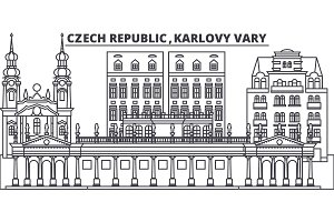 Czech Republic, Karlovy Vary line skyline vector illustration. czech Republic, Karlovy Vary linear cityscape with famous landmarks, city sights, vector design landscape.