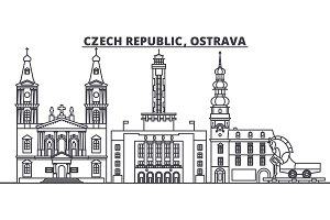 Czech Republic, Ostrava line skyline vector illustration. czech Republic, Ostrava linear cityscape with famous landmarks, city sights, vector design landscape.