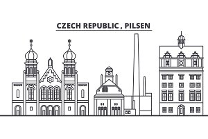 Czech Republic, Pilsen line skyline vector illustration. czech Republic, Pilsen linear cityscape with famous landmarks, city sights, vector design landscape.