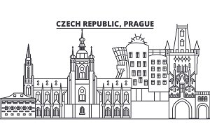 Czech Republic, Prague line skyline vector illustration. czech Republic, Prague linear cityscape with famous landmarks, city sights, vector design landscape.