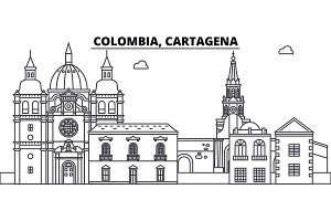 Colombia, Cartagena line skyline vector illustration. Colombia, Cartagena linear cityscape with famous landmarks, city sights, vector landscape.