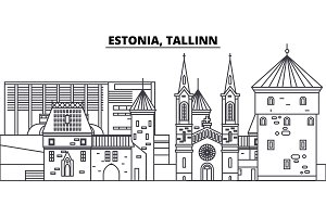 Estonia, Tallinn line skyline vector illustration. Estonia, Tallinn linear cityscape with famous landmarks, city sights, vector landscape.