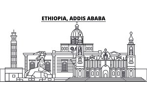 Ethiopia, Addis Ababa line skyline vector illustration. Ethiopia, Addis Ababa linear cityscape with famous landmarks, city sights, vector landscape.