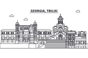 Georgia, Tbilisi line skyline vector illustration. Georgia, Tbilisi linear cityscape with famous landmarks, city sights, vector landscape.