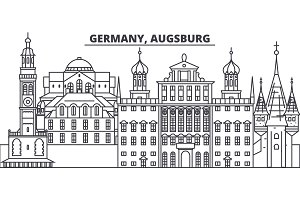Germany, Augsburg line skyline vector illustration. Germany, Augsburg linear cityscape with famous landmarks, city sights, vector landscape.