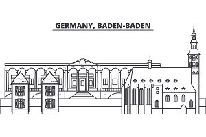 Germany, Baden Baden line skyline vector illustration. Germany, Baden Baden linear cityscape with famous landmarks, city sights, vector landscape.