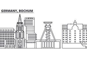Germany, Bochum line skyline vector illustration. Germany, Bochum linear cityscape with famous landmarks, city sights, vector landscape.